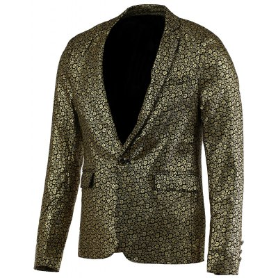 Floral Hot Stamping Printing Lapel Long Sleeve Blazer For Men