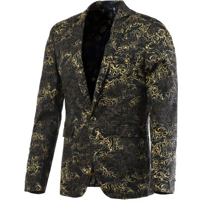 Ornate Hot Stamping Printing Lapel Long Sleeve Blazer