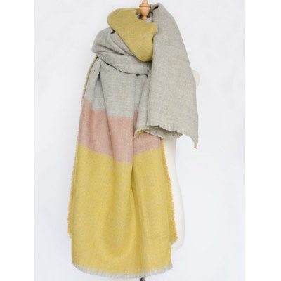 Wide Stripe Fringed Edge Scarf