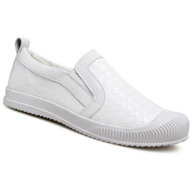 Stylish Lattice Pattern and Slip On Design Casual Shoes For Men