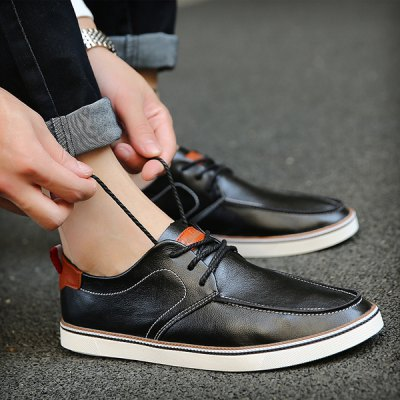 Simple Lace-Up and Stitching Design Casual Shoes For Men
