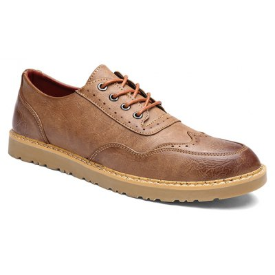Vintage Lace-Up and Engraving Design Casual Shoes For Men