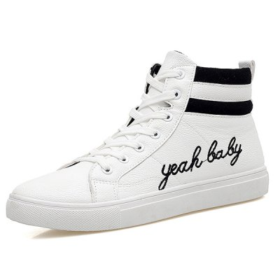 Fashion Lace-Up and Letter Print Design Casual Shoes For Men