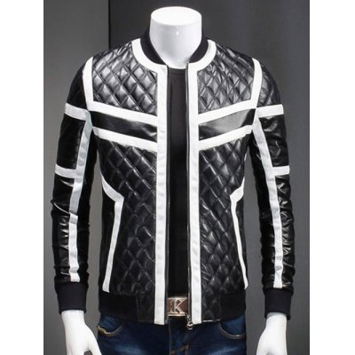 Stand Collar Color Block Splicing Argyle Long Sleeve PU-Leather Jacket For Men