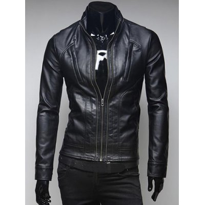 Pockets Design Zippered Stand Collar Long Sleeve Faux Leather Jacket