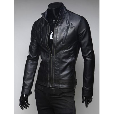 pockets-design-zippered-stand-collar-long-sleeve-faux-leather-jacket