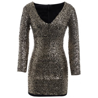 Plus Size Sequin Long Sleeve Glitter Bodycon  Short Club Dress