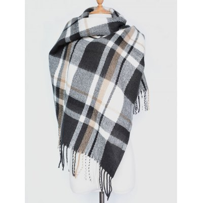 Plaid Tassel Edge Shawl Wrap Scarf