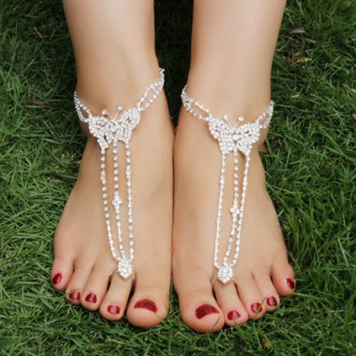 Pair of Rhinestoned Butterfly Anklets