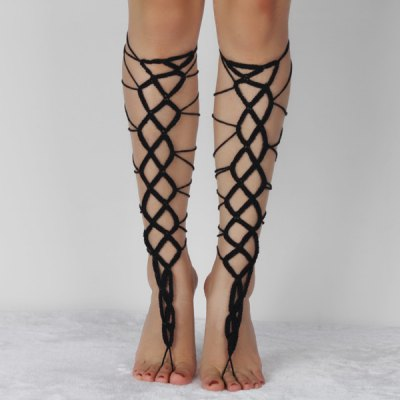 Pair of Vintage Geometric Crochet Anklets