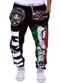 Loose Fit Stylish Lace-Up Italy National Emblem Print Beam Feet Men's Polyester Sweatpants