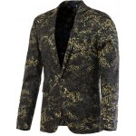 Ornate Hot Stamping Printing Lapel Long Sleeve Blazer For Men
