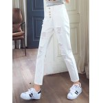 Stylish Pure Color Ripped Denim Pants For Women deal