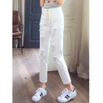 cheap Stylish Pure Color Ripped Denim Pants For Women
