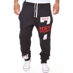Slimming Trendy Lace-Up Letter Number Print Beam Feet Polyester Men's Sweatpants