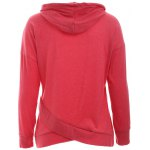 cheap Trendy Long Sleeve Pure Color Slant Spliced Hoodie