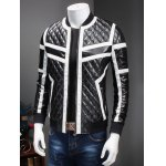 cheap Stand Collar Color Block Splicing Argyle Long Sleeve PU-Leather Jacket For Men