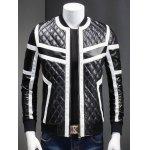Buy Stand Collar Color Block Splicing Argyle Long Sleeve PU-Leather Jacket Men 3XL BLACK