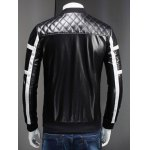 Stand Collar Color Block Splicing Argyle Long Sleeve PU-Leather Jacket For Men deal