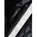 Stand Collar Color Block Splicing Argyle Long Sleeve PU-Leather Jacket For Men photo