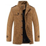 Stand Collar Epaulet Design Long Sleeve PU-Leather Jacket