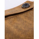Stand Collar Epaulet Design Long Sleeve PU-Leather Jacket deal