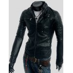 cheap Rivet Embellished Stand Collar Long Sleeve Faux Leather Jacket