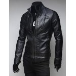 cheap Pockets Design Zippered Stand Collar Long Sleeve Faux Leather Jacket