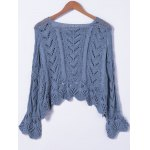 cheap Crochet Bell Sleeve Hollow Out Sweater