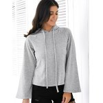 Casual Style Long Raglan Sleeve Solid Color Women's Hoodie