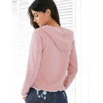 Casual Style Raglan Sleeve Light Pink Lace Up Women's Hoodie deal