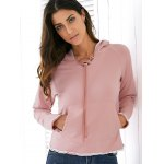 cheap Casual Style Raglan Sleeve Light Pink Lace Up Women's Hoodie