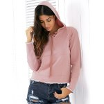 Casual Style Raglan Sleeve Light Pink Lace Up Women's Hoodie