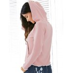 Casual Style Raglan Sleeve Light Pink Lace Up Women's Hoodie for sale