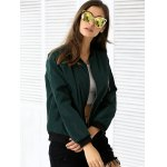 Zipper Design Pocket Bomber Jacket deal