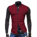Fashion Shirt Collar Pocket Design Color Block Splicing Slimming Long Sleeve Polyester Button-Down Shirt For Men 11027