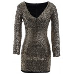 Plus Size Long Sleeve Sequined Sparkly Dress