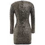 cheap Plus Size Long Sleeve Sequined Sparkly Dress
