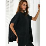 Round Neck Slit Loose Ribbed Cape Sweater for sale