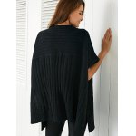 best Round Neck Slit Loose Ribbed Cape Sweater