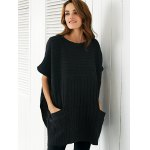 Round Neck Slit Loose Ribbed Cape Sweater deal