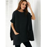 cheap Round Neck Slit Loose Ribbed Cape Sweater