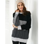 Round Neck  Color Block Sweater deal