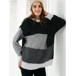 cheap Round Neck  Color Block Sweater