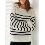 Scoop Neck Long Sleeve Stripe Loose Sweater
