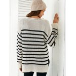best Scoop Neck Long Sleeve Stripe Loose Sweater