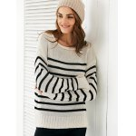 cheap Scoop Neck Long Sleeve Stripe Loose Sweater
