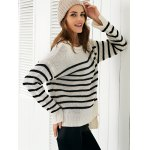 Scoop Neck Long Sleeve Stripe Loose Sweater for sale
