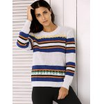 cheap Round Neck Long Sleeve Stripe Colorful Embroidered Sweater