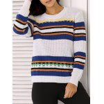 Round Neck Long Sleeve Stripe Colorful Embroidered Sweater